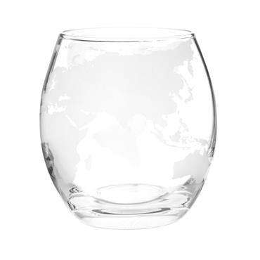 Gobelet  en verre imprimé carte du monde blanche
