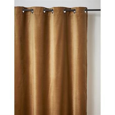 Rideau velours à oeillets bronze