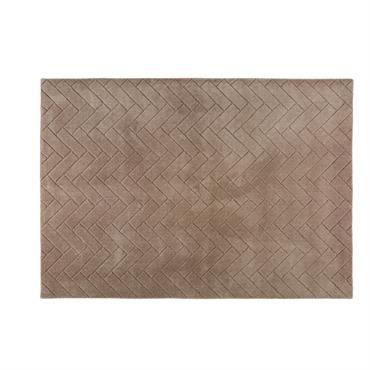 Tapis en laine taupe à motifs 140x200cm BRIKIA