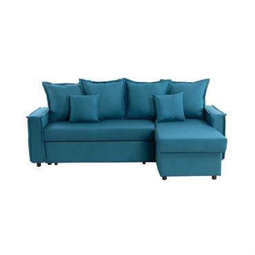 Canapé d'angle convertible réversible avec coffre en tissu bleu canard