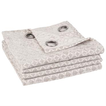 Rideau à œillets gris et blanc motifs graphiques 140x270