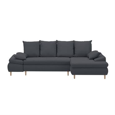 Canapé d'angle droit convertible avec coffre en tissu gris foncé