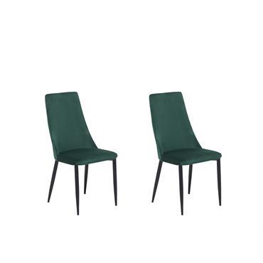 Lot de 2 chaises en velours vert