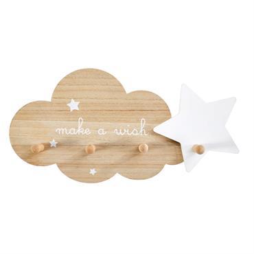 Patère 4 crochets nuage et étoile