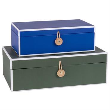 Boîtes en carton bleu et vert kaki