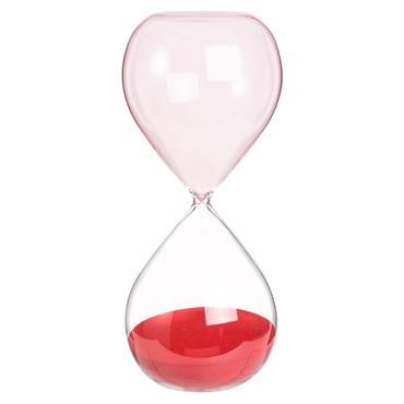 Grand sablier rouge en verre