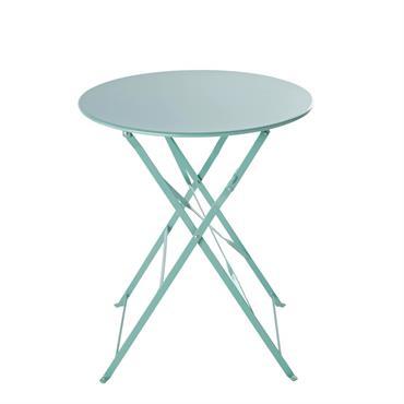Table de jardin ronde pliante en métal bleu turquoise D58 Guinguette