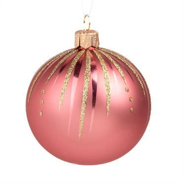 Boule de Noël en verre rose et doré