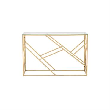Console en verre et métal doré Arago
