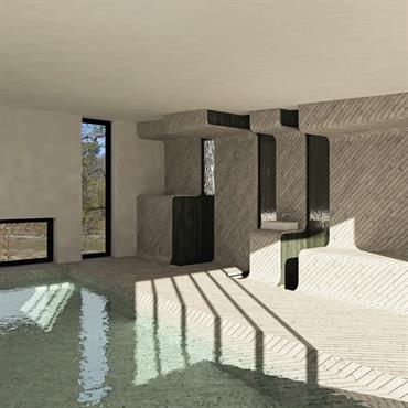 Programme : Bassin de Nage Lieu : Bretagne, France Maître d'ouvrage : Particuliers Mission : Etude de Faisabilité Avancement : Esquisse 3D : F. Gaudin, ... Domozoom