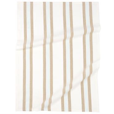 Torchon en coton motifs à rayures beiges 50x70