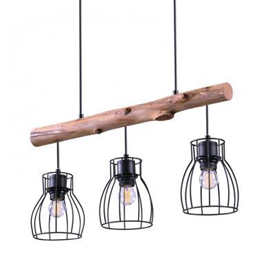 Suspension 3 lampes en bois d'eucalyptus et métal noir