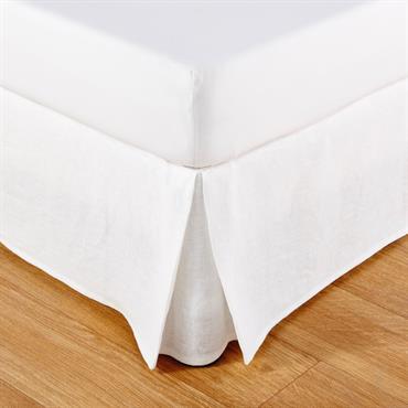 Cache-sommier 90x190 en coton et lin blancs