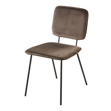 Chaise en velours taupe et métal noir Griffin