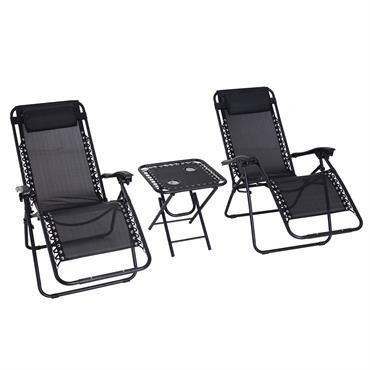 Lot de 2 chaises longues pliables avec table d'appoint