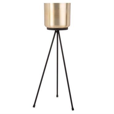 Cache-pot en aluminium doré sur pied en métal noir H52