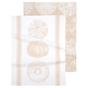 Torchons en coton beige et blanc à motifs 50x70