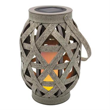 Lanterne solaire effet flamme plastique marron H41cm
