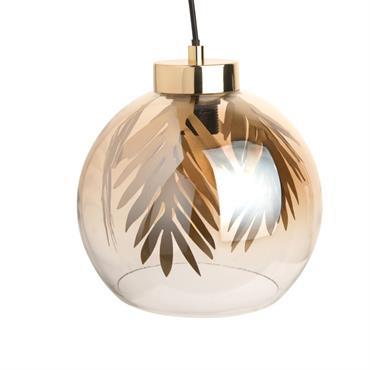 Suspension globe en verre et feuillages en métal doré
