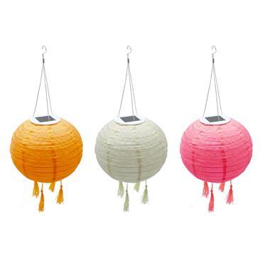 SHANGRI LA - Lot de 3 lampions solaires nylon multicolore D20cm