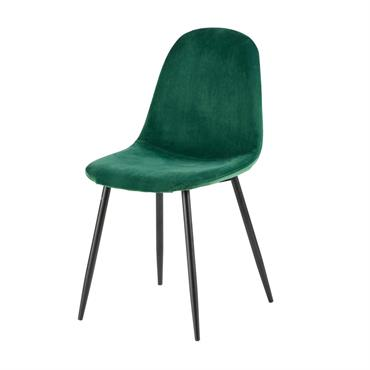 Chaise style scandinave en velours vert sapin Clyde