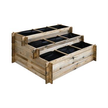 Carré potager à étages en pin traité