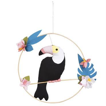 Statuette toucan à suspendre en coton H31