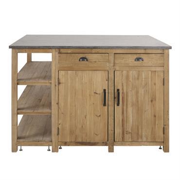 Îlot central cuisine 2 portes 2 tiroirs en pin recyclé effet vieilli Aubagne