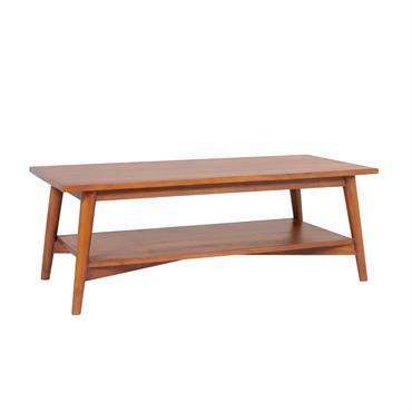 Table basse rectangulaire avec tablette en teck