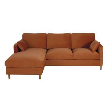 Canapé d'angle gauche convertible 5 places en velours orange
