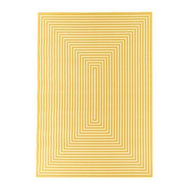 Tapis géométrique design en polypropylène jaune 200x285