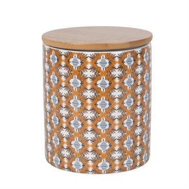 Pot en porcelaine motifs graphiques et bambou H11