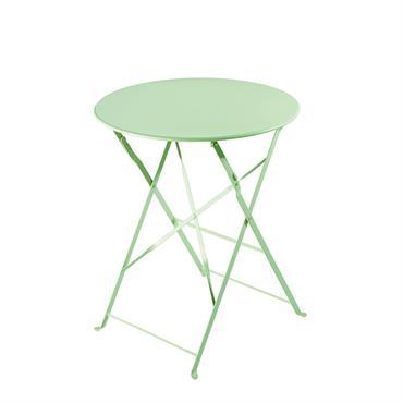 Table de jardin pliante en métal vert d'eau D58 Guinguette