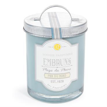 Bougie parfumée en verre bleue H 9 cm PLAGE DU PHARE