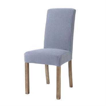 Housse de chaise en lin lavé bleu orage Margaux