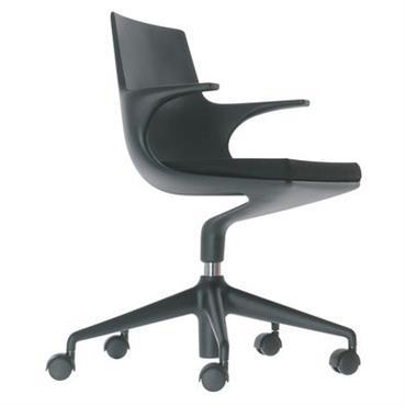 Fauteuil à roulettes Spoon Chair / Rembourré - Kartell noir en matière plastique