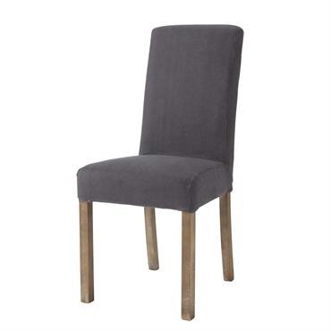 Housse de chaise en lin lavé anthracite Margaux