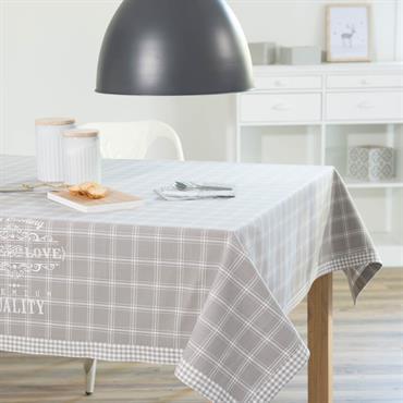 Nappe à carreaux en coton grise 150 x 250 cm PREMIUM