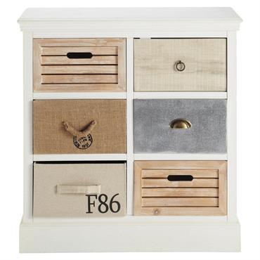 L'esprit bord de mer envahit votre intérieur avec le cabinet de rangement OUESSANT. Ce cabinet blanc est doté de 6 tiroirs orig inaux qui déclinent les matériaux marins : corde, ...