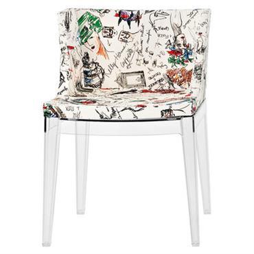 Fauteuil rembourré Mademoiselle Moschino / Tissu & pieds transparents - Kartell blanc