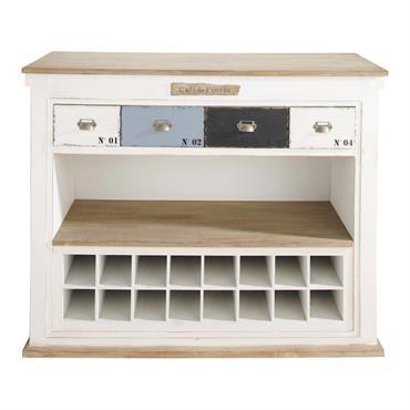 Meuble de bar avec tiroirs en bois blanc effet vieilli L 129