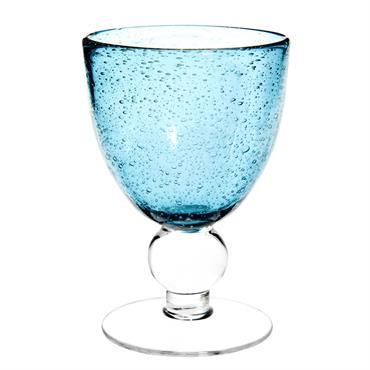 Verre à vin en verre bullé bleu