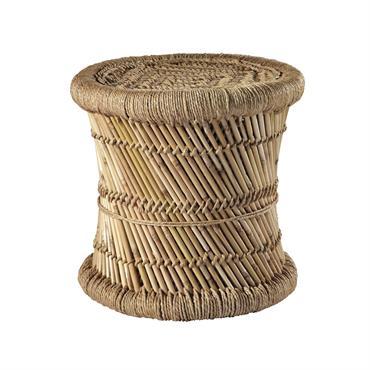 Tabouret tressé en fibres naturelles et bambou MOGALE