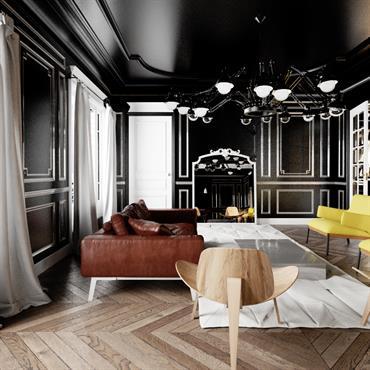 Salon aux murs et plafond noirs, et parquet à chevrons