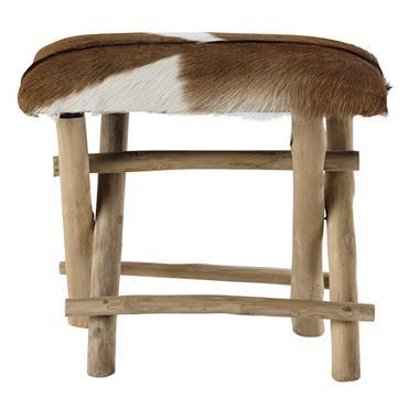 Composé d'un piètement en teck et d'une assise en peau de chèvre, le tabouret BERGERIE apportera un côté naturel et chaleureux à votre pièce. Ce petit siège d'appoint sera idéal ...