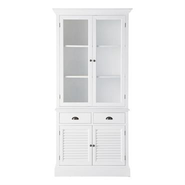 D'un blanc éclatant, le vaisselier Barbade est un meuble de rangement en bois qui se divise en deux parties. Dans la partie haute, ce vaisselier blanc dispose de deux étagères ...