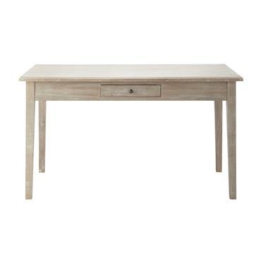 Table de salle à manger en bois de paulownia grise L 140