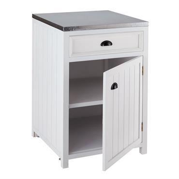 Envie de retrouver chez vous l'esprit de la mer du nord ? Choisissez pour votre ameublement de cuisine, le meuble bas blanc de cusine 60 cm Newport avec ouverture à ...