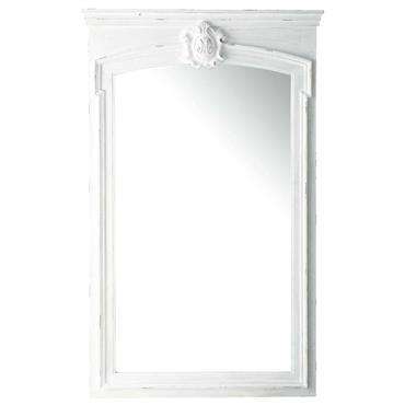 Miroir trumeau en sapin blanc H 160 cm JOSÉPHINE