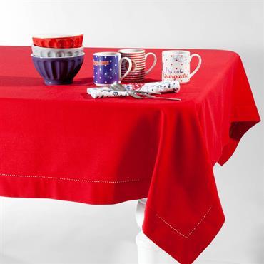 Nappe en coton rouge 170 x 310 cm